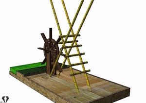 木制水车素材SU(草图大师)模型