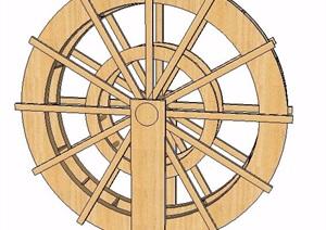 木制水车设计SU(草图大师)模型
