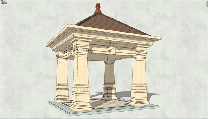东南亚风格亭子素材设计su模型[原创]