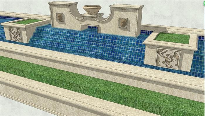 欧式风格详细水景景观墙设计su模型[原创]