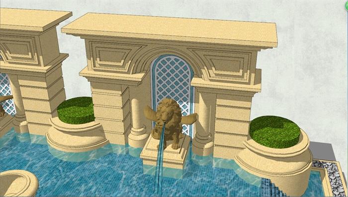 欧式水景观墙素材设计su模型[原创]