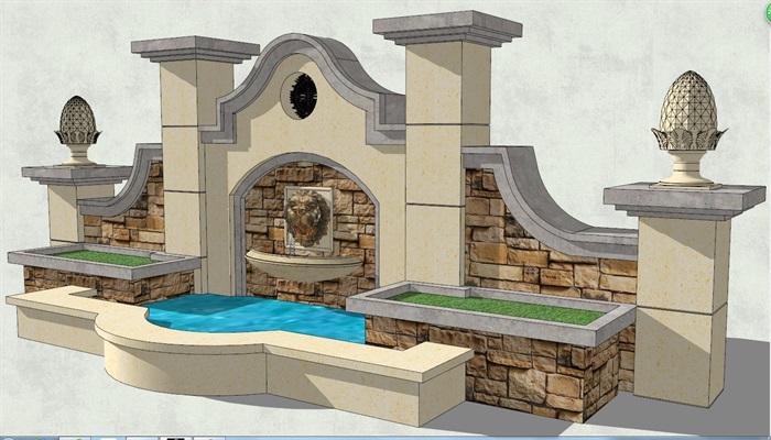 欧式风格园林景观墙设计su模型[原创]