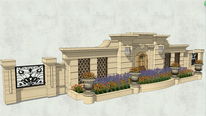 欧式景观墙详细完整设计su模型[原创]
