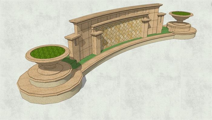 欧式景观墙独特详细设计su模型[原创]
