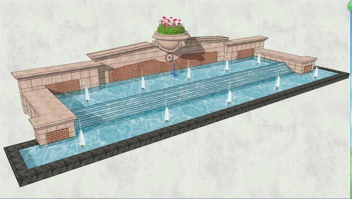 欧式喷泉水景景观墙设计su模型[原创]