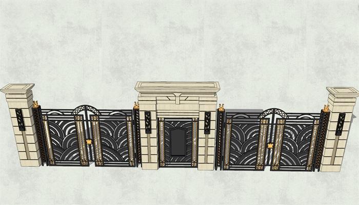 大门围墙素材设计su模型[原创]