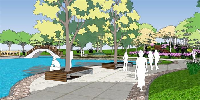 城市公园景观广场规划设计方案su模型室外水池座椅sketchup素材库(3)