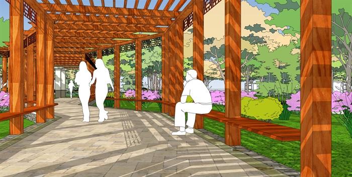 城市公园景观广场规划设计方案su模型室外水池座椅sketchup素材库(6)