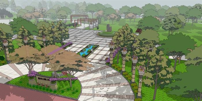 城市主题休闲娱乐公园景观划设计su模型[原创]