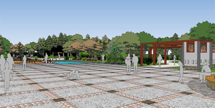 城市公园景观广场规划设计方案su模型室外水池座椅sketchup素材库(9)