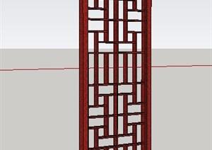 中式木制门扇SU(草图大师)模型