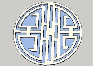 中式简洁花窗设计SU(草图大师)模型