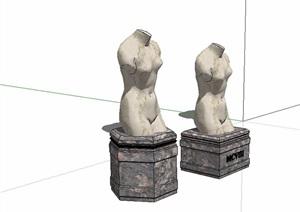 两个园林景观人物小品雕塑精选SU(草图大师)模型