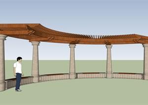 弧形廊架详细完整设计SU(草图大师)模型