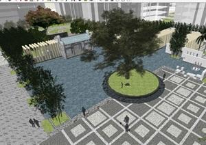 一个新中式居住区中庭景观方案SU模型