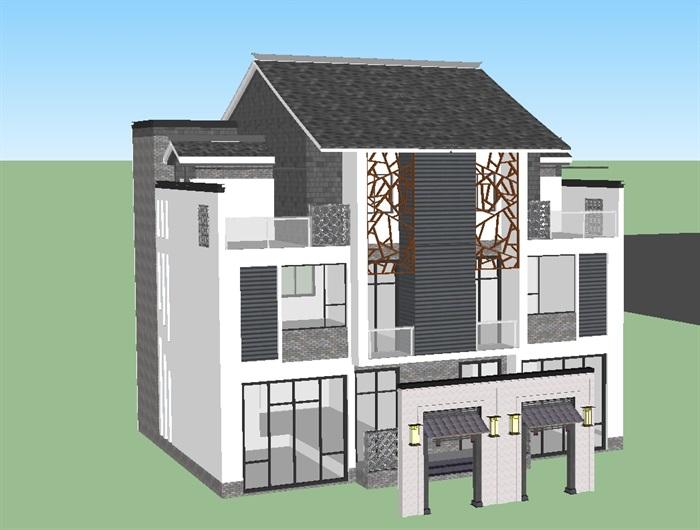 现代中式商业民宿建筑设计方案su模型(8)