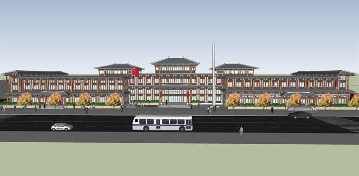 汉代建筑商业多层建筑设计su模型[原创]图片