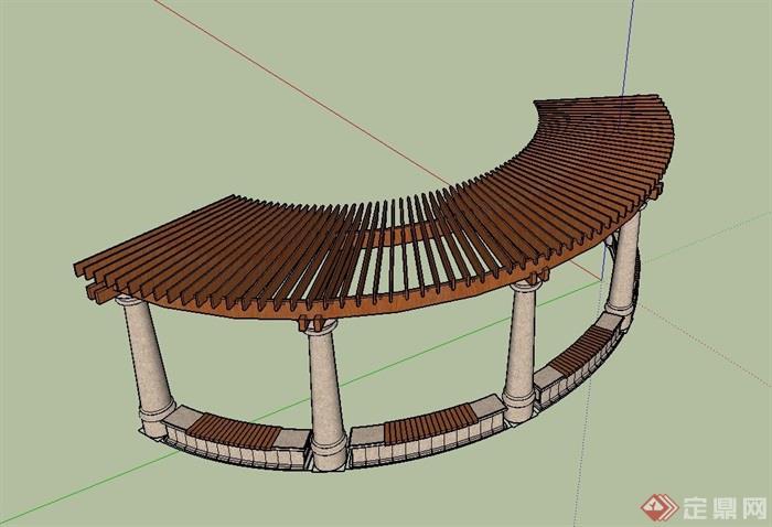 弧形廊架详细完整设计su模型[原创]