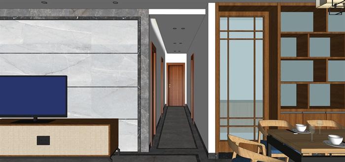 现代中式客、餐厅设计su模型