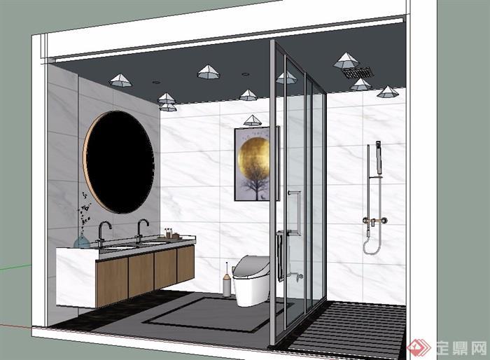 某卫生间空间设计su模型