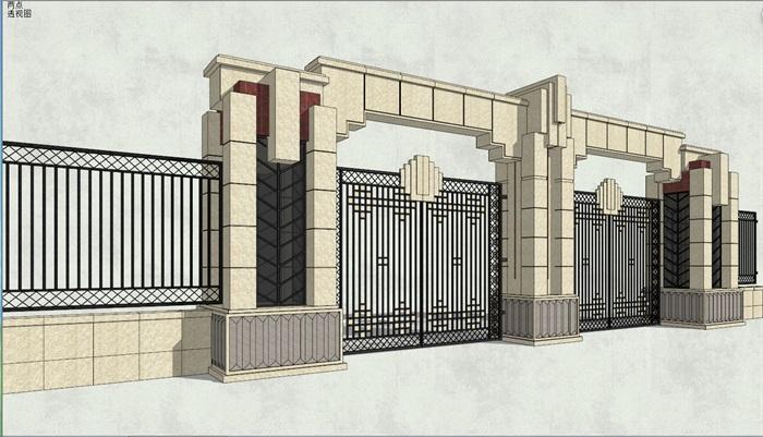 新古典风格详细围墙大门设计su模型[原创]