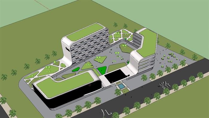 社区医院精细建筑设计su模型[原创]