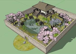 日式小花园详细景观设计SU(草图大师)模型