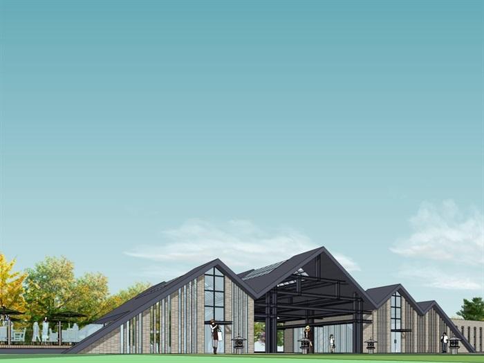 中式风格游客中心建筑设计su模型[原创]