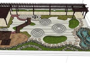 日式枯山水特色住宅庭院景观SU(草图大师)模型