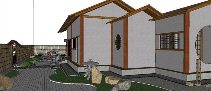 日式茶室枯山水庭院景观设计su模型含建筑[原创]