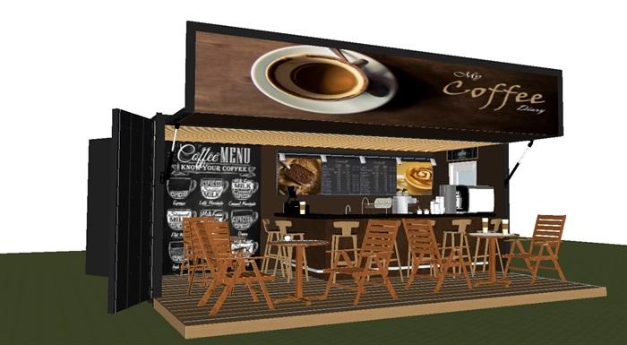 集装箱式小咖啡厅SU模型(2)