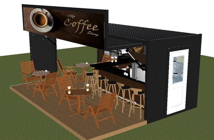 集装箱式小咖啡厅SU模型(4)