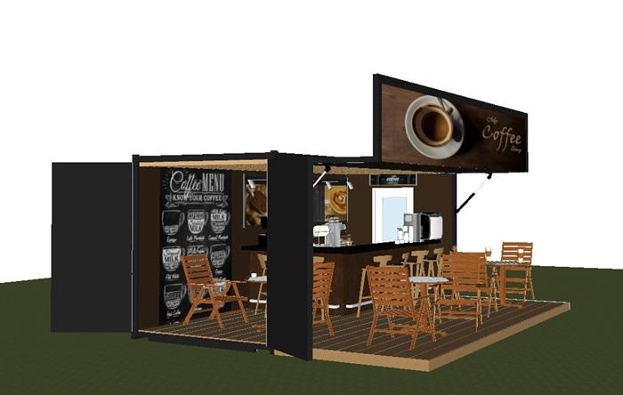 集装箱式小咖啡厅SU模型(5)