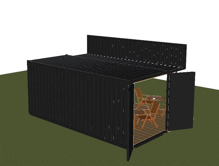 集装箱式小咖啡厅SU模型(6)