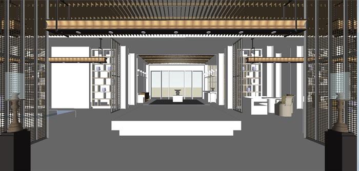 现代展厅空间装潢方案SU模型