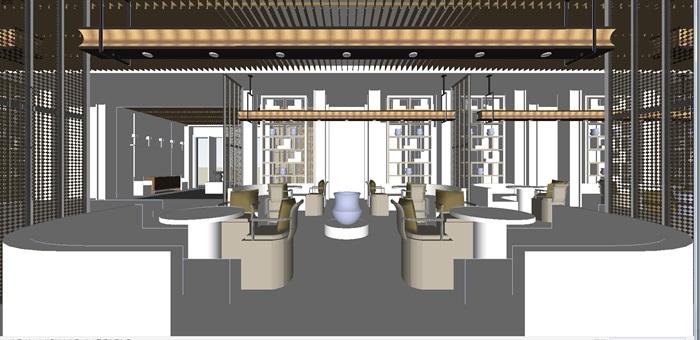 现代展厅空间装潢方案SU模型(2)