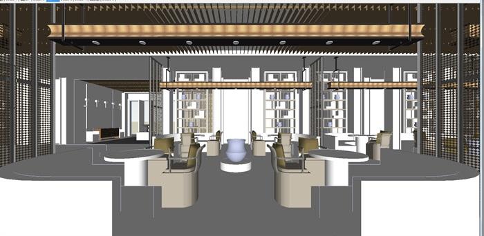现代展厅空间装潢方案SU模型(3)