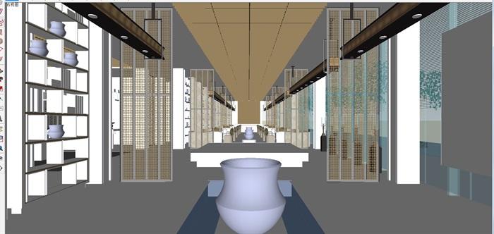 现代展厅空间装潢方案SU模型(4)