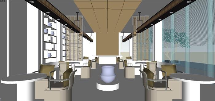 现代展厅空间装潢方案SU模型(5)