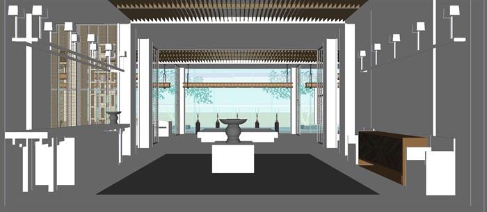 现代展厅空间装潢方案SU模型(6)