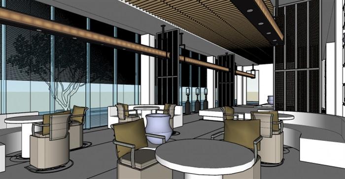 现代展厅空间装潢方案SU模型(7)