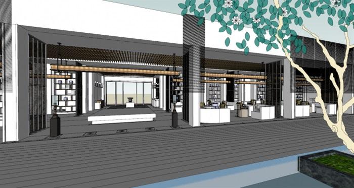 现代展厅空间装潢方案SU模型(8)