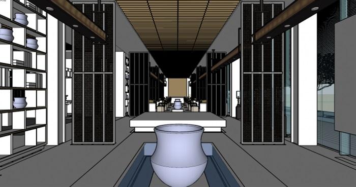 现代展厅空间装潢方案SU模型(9)