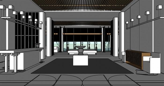 现代展厅空间装潢方案SU模型(10)