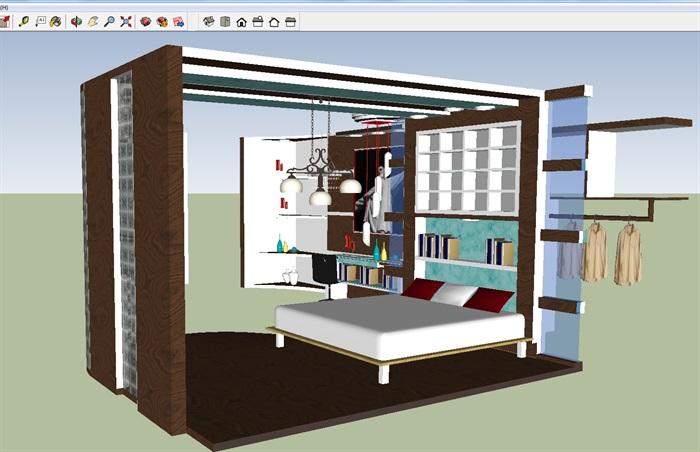 现代卧室装潢方案SU模型