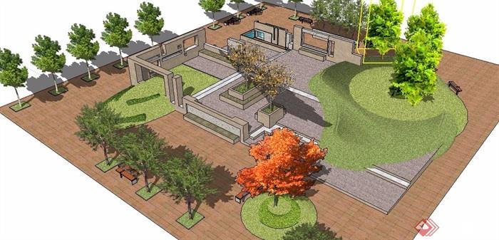 现代风格景观小广场有什么可以免费领红包su模型[原创]
