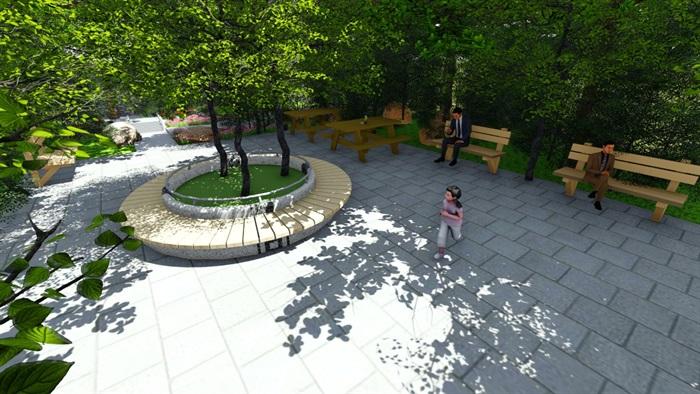 小广场详细的景观设计su模型