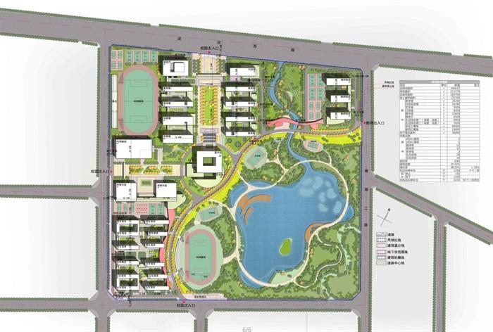 水景中学校园完整规划和单体建筑设计(带CAD,效果图,总平图)