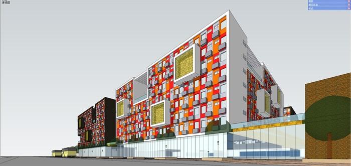 青年公�_现代彩色系青年公寓多层建筑设计su模型[原创]