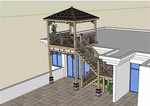 某中式风格木质楼梯设计SU(草图大师)模型